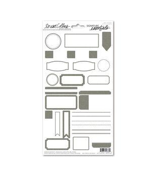 Teresa Collins Signature Essentials Label Stickers Silver Glitter