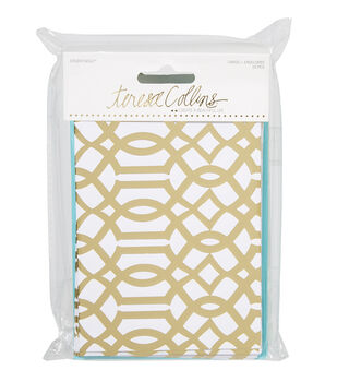 Teresa Collins Studio Gold Lattice Card And Envelope Set