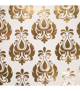 "Teresa Collins Studio Gold Foiled Gift Wrap 30""X30"" 2/Pkg-Damask"