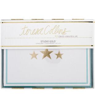 Teresa Collins Studio Gold Foiled Cards W/Envelopes 12/Pkg-Stars