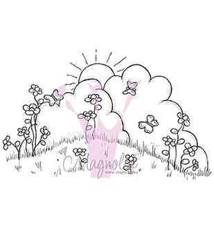 Magnolia Chasing Butterflies Butterfly Background Cling Stamp