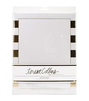 "Teresa Collins Studio Gold Foiled Stationery 8.5""X11"" 12/Pkg-Stripes"