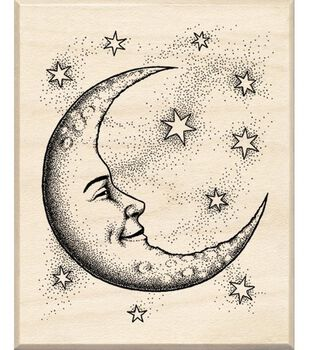 Inkadinkado Rubber Stamp With Wood Handle-Cresent Moon