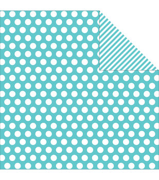 """Sn@p! Color Vibe Double-Sided Cardstock 12""""X12""""-Teal Dot/Stripe"""