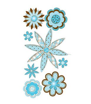 Dimensional Stickers-Blue & Brown Sketch Flowers
