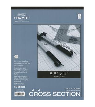 "Pro Art Cross Section Pad 8.5""X11""-4x4 Grid 50/Sheets"