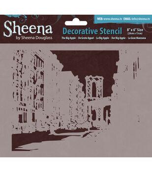 "Sheena Douglass Decorative Stencil 8""X6""-The Big Apple"