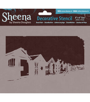 "Sheena Douglass Decorative Stencil 8""X6""-Beach Huts"