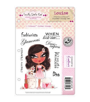 Crafter's Companion Scruffy Little Cat Louise Cling Stamp Set