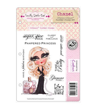 """Scruffy Little Cat Cling Stamp Set 5.5""""X8.5""""-Chanel"""
