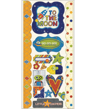 """Fancy Pants To The Moon Cardstock Stickers 6""""X13""""-Element"""