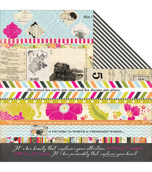 """Me.ology Double-Sided Cardstock 12""""X12""""-Me.ology Strips"""