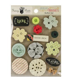 Burlap & Bouquets Button Set 14/Pkg
