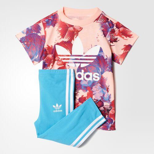 adidas - Trefoil Tee Leggings Set Multicolor/Haze Coral/White BK5755