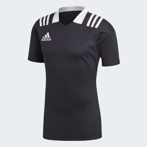 adidas - 3-Stripes Fitted Rugby Jersey Black BS3191