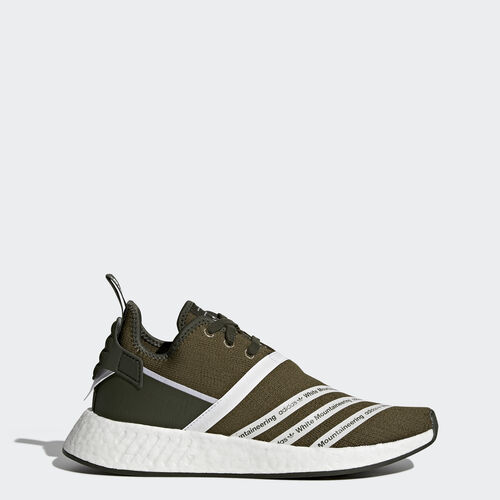 adidas - White Mountaineering NMD_R2 Primeknit Shoes Trace Olive /Footwear White CG3649