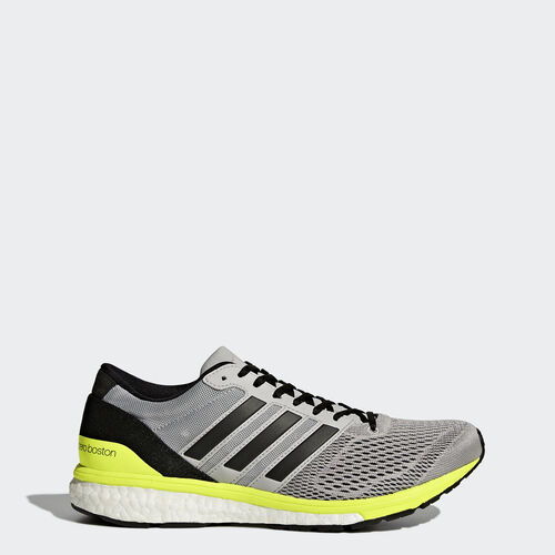 adidas - adizero Boston 6 Shoes Grey Two /Core Black/Solar Yellow BA8146