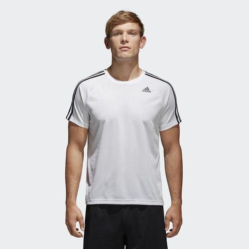 adidas - T-shirt D2M 3-Stripes White BK0971