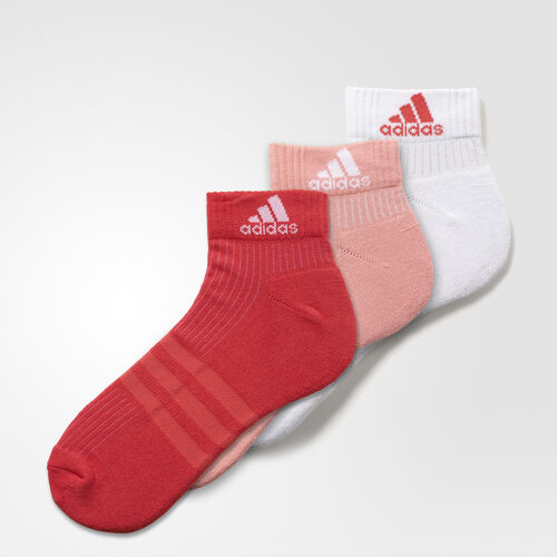 adidas - 3-Stripes Performance Ankle Socks 3 Pairs Ray Pink/White/Joy AY6433