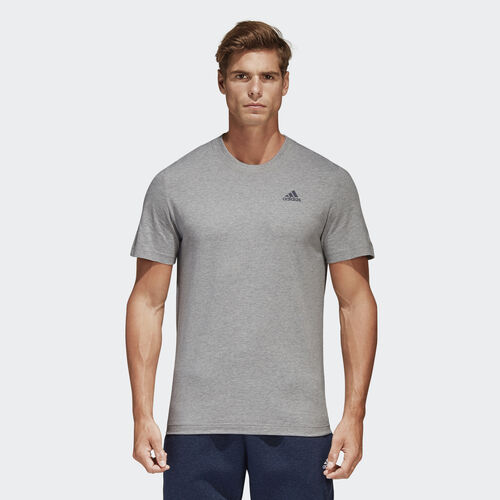 adidas - Essentials Base Tee Medium Grey Heather/Collegiate Navy S98741