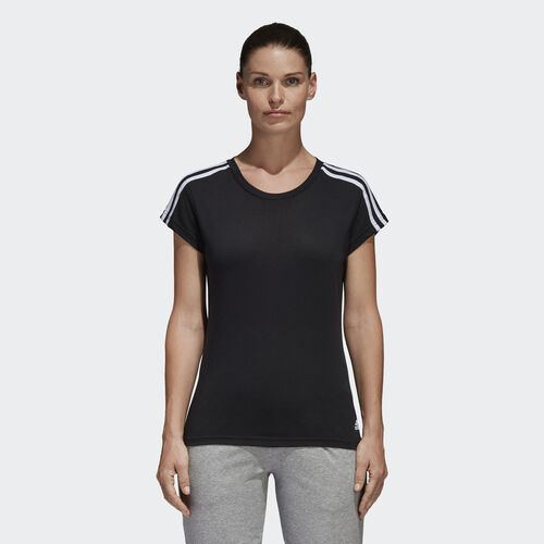 adidas - Essentials 3-Streifen T-Shirt Black / White S97183