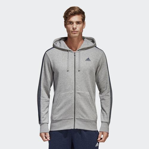 adidas - Casaco com Capuz com as 3 riscas Essentials Medium Grey Heather/Collegiate Navy S98788