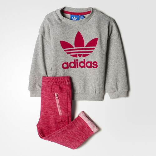 adidas - Trefoil Jogger Set Medium Grey Heather/Easy Pink/Bold Pink BK4698