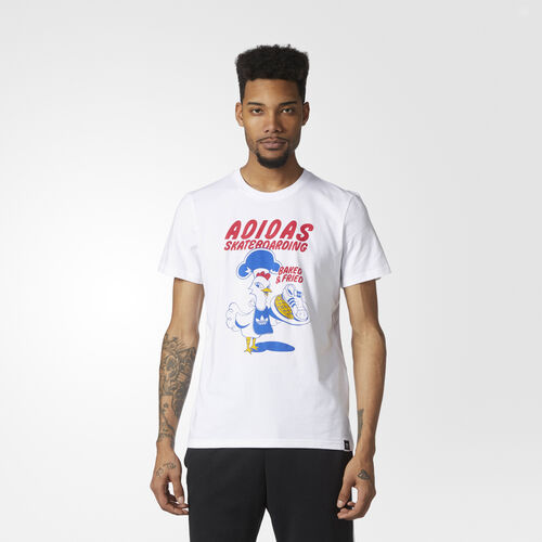 adidas - Baked and Fried Tee White/Blue/Bold Gold/Bold Red BR4953