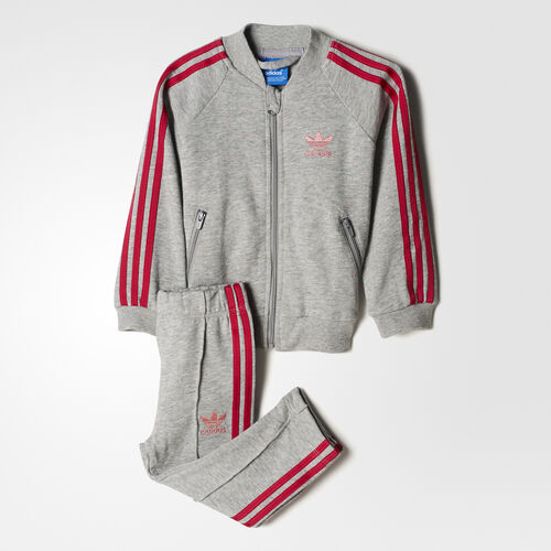 adidas - Survêtement Trefoil Medium Grey Heather/Easy Pink/Bold Pink BK4630