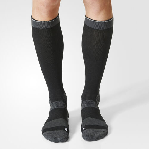 adidas - Running Energy Compression Socks 1 Pair Black/Dark Grey Heather/Reflective Silver S96283