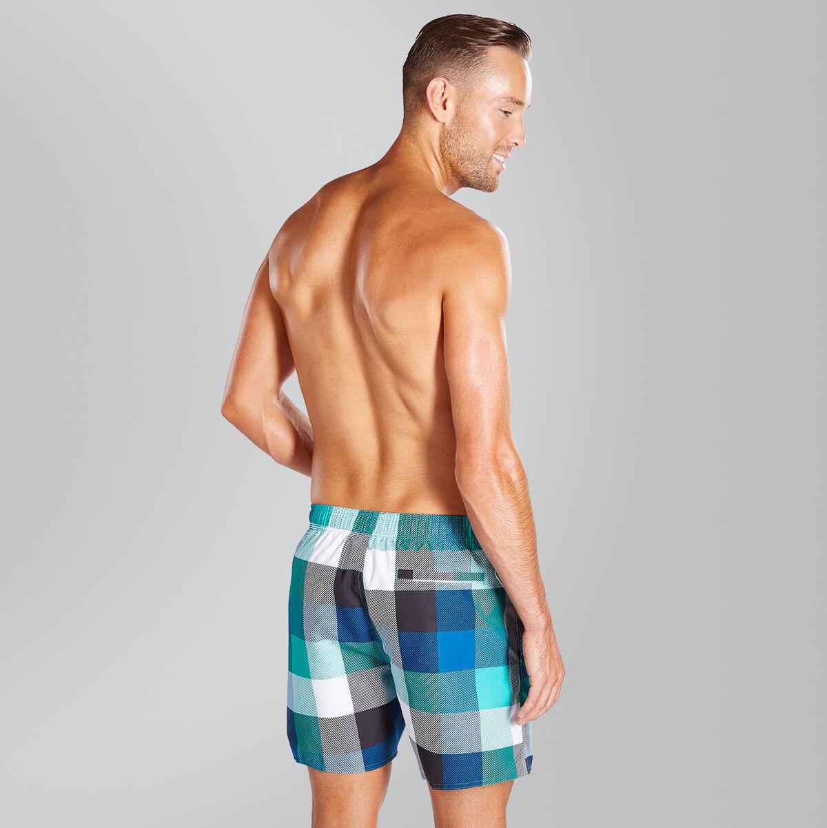 "Printed Check Leisure 16"" Swim Shorts"
