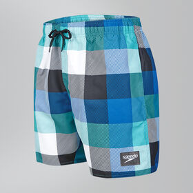 "Printed Check Leisure 16"" Swim Shorts"