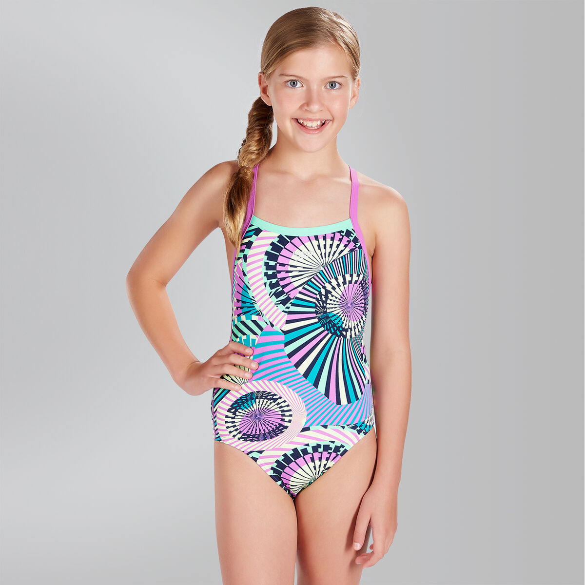 Ethno Funk Allover Thinstrap Crossback Swimsuit
