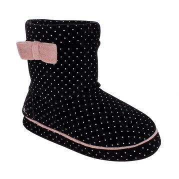Chaussons bottes en velours noirs à pois roses Femme-DIM