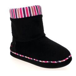 Chaussons bottes noirs à rayures Femme-DIM