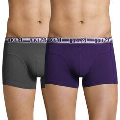 Lot de 2 boxers violet auburn et gris EcoDIM coton stretch -DIM