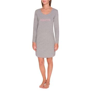 Chemise de nuit manches longues grise Femme-DIM