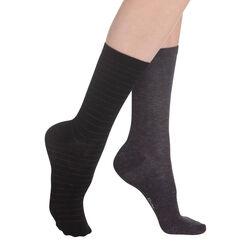 Lot de 2 paires de chaussettes noires effet brillant Femme-DIM