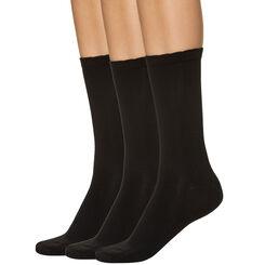 Lot de 3 paires de chaussettes noires en microfibre Femme-DIM