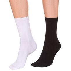 Lot de 4 paires de chaussettes noires et blanches Femme-DIM
