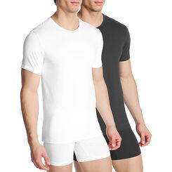 Lot de 2 T-shirts col en V noir et blanc Homme Dry & Cool-DIM