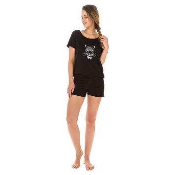 Short de pyjama noir 100% coton Femme-DIM