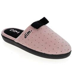 Pantoufles en velours plates roses Femme-DIM