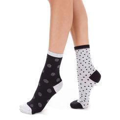 Lot de 2 chaussettes grises et noires à pois lurex Femme-DIM