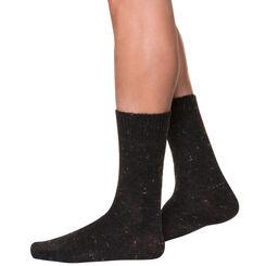 Mi-chaussettes noires tweed en laine Homme-DIM
