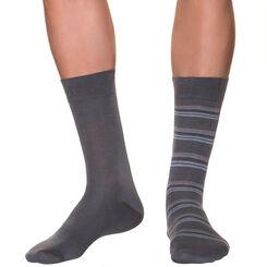 Lot de 2 mi-chaussettes anthracites à rayures bleues Homme-DIM