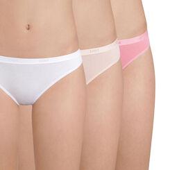 Lot de 3 slips coton rose et blanc Les Pockets EcoDIM-DIM