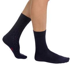 Lot de 2 paires de chaussettes bleu nuit à plumetis Homme-DIM