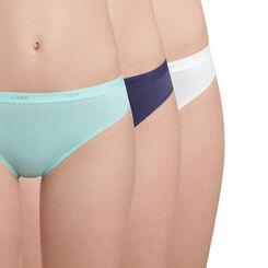 Lot de 3 slips coton bleus et blanc Les Pockets EcoDIM-DIM
