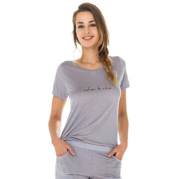 T-shirt de pyjama manches courtes gris en modal Femme-DIM